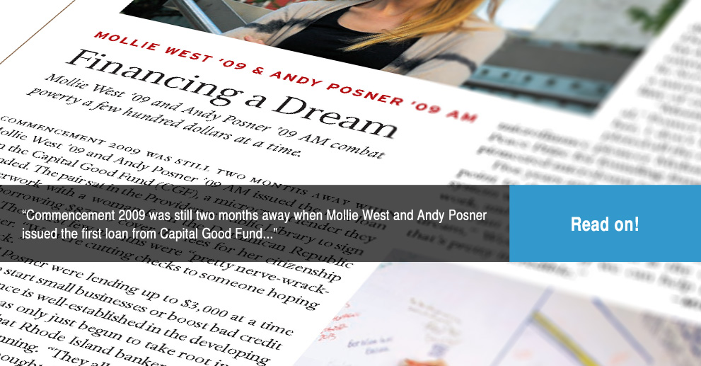 Brown Alumni Magazine article: Financing a Dream